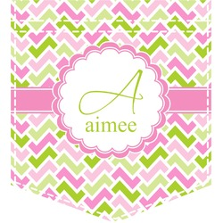 Pink & Green Geometric Iron On Faux Pocket (Personalized)