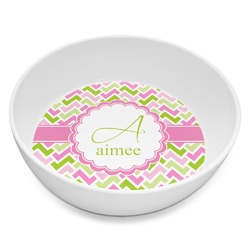 Pink & Green Geometric Melamine Bowl 8oz (Personalized)