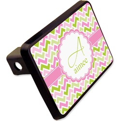"Pink & Green Geometric Rectangular Trailer Hitch Cover - 2"" (Personalized)"