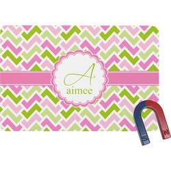 Pink & Green Geometric Rectangular Fridge Magnet (Personalized)