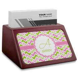 Pink & Green Geometric Red Mahogany Business Card Holder (Personalized)