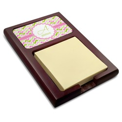 Pink & Green Geometric Red Mahogany Sticky Note Holder (Personalized)