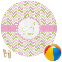 Pink & Green Geometric Round Beach Towel (Personalized)