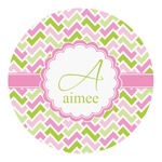 Pink & Green Geometric Round Decal (Personalized)