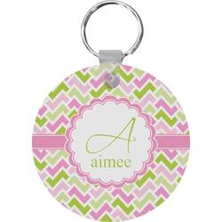 Pink & Green Geometric Round Keychain (Personalized)