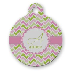 Pink & Green Geometric Round Pet Tag (Personalized)