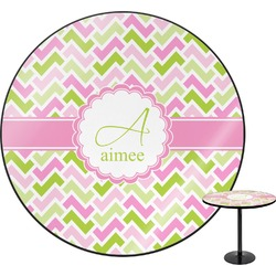 "Pink & Green Geometric Round Table - 30"" (Personalized)"