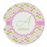 Pink & Green Geometric Sandstone Car Coasters (Personalized)