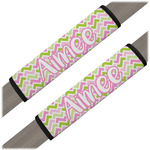 Pink & Green Geometric Seat Belt Covers (Set of 2) (Personalized)