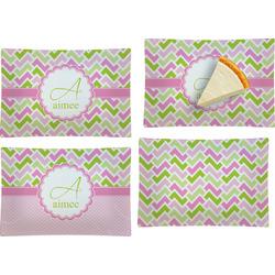 Pink & Green Geometric Set of 4 Glass Rectangular Appetizer / Dessert Plate (Personalized)