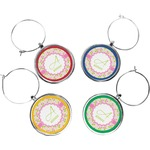 Pink & Green Geometric Wine Charms (Set of 4) (Personalized)