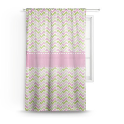 Pink & Green Geometric Sheer Curtains (Personalized)