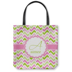 Pink & Green Geometric Canvas Tote Bag (Personalized)