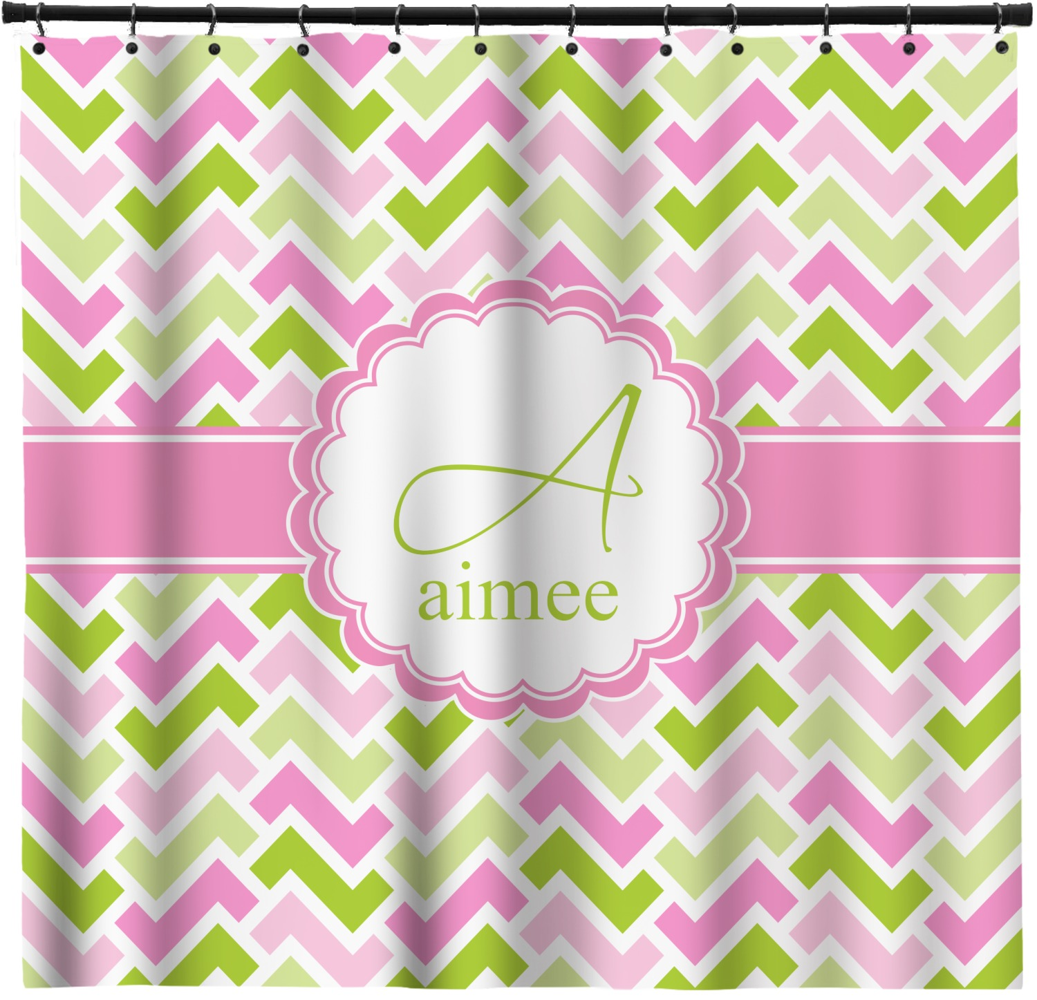 Pink Green Geometric Shower Curtain Custom Width Height Personalized Youcustomizeit