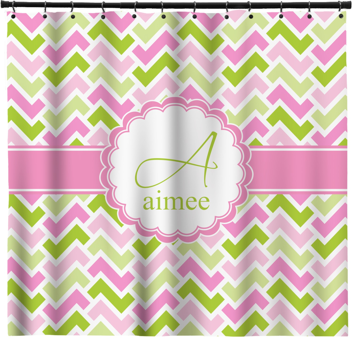 Pink Green Geometric Shower Curtain Personalized