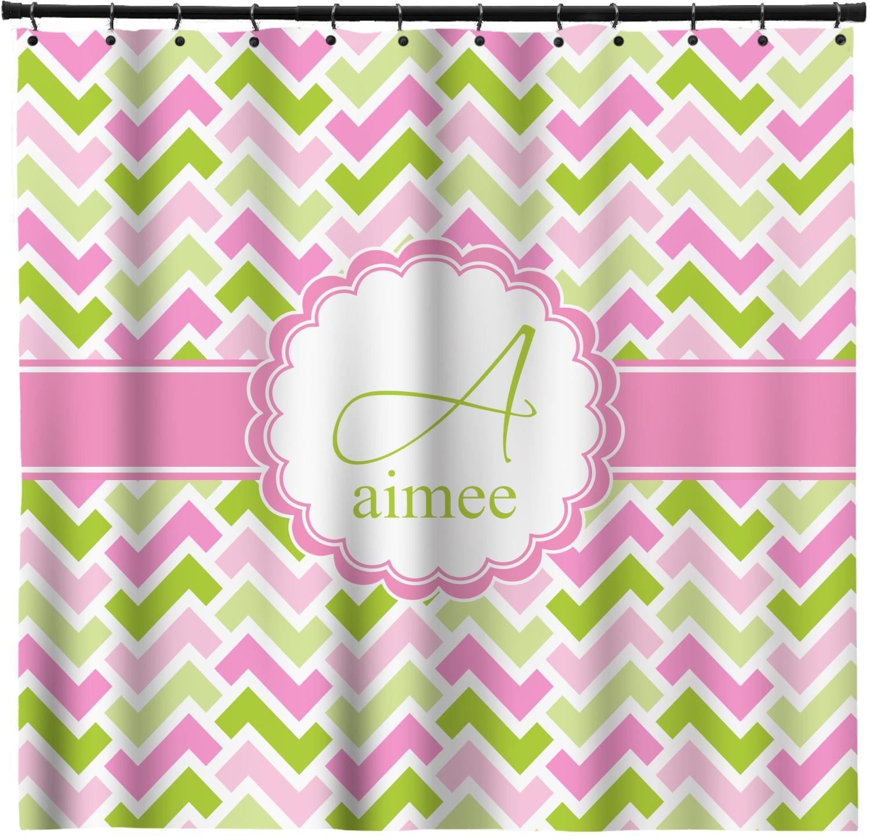 Pink U0026 Green Geometric Shower Curtain (Personalized)