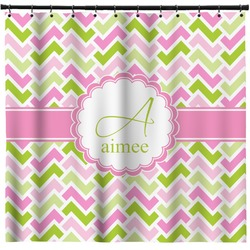 Pink & Green Geometric Shower Curtain (Personalized)
