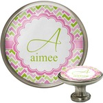 Pink & Green Geometric Cabinet Knob (Silver) (Personalized)