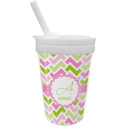 Pink & Green Geometric Sippy Cup with Straw (Personalized)