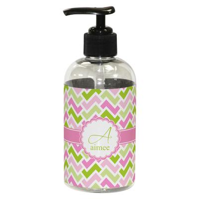 Pink & Green Geometric Plastic Soap / Lotion Dispenser (8 oz - Small) (Personalized)