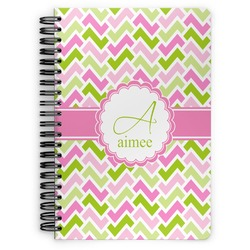 Pink & Green Geometric Spiral Notebook (Personalized)