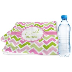Pink & Green Geometric Sports & Fitness Towel (Personalized)