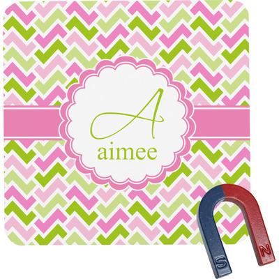 Pink & Green Geometric Square Fridge Magnet (Personalized)