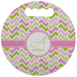 Pink & Green Geometric Stadium Cushion (Round) (Personalized)