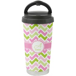 Pink & Green Geometric Stainless Steel Travel Mug (Personalized)