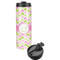 Pink & Green Geometric Stainless Steel Travel Tumbler (Personalized)