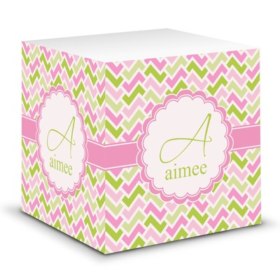 Pink & Green Geometric Sticky Note Cube (Personalized)