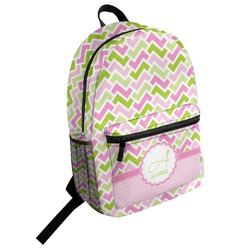 Pink & Green Geometric Student Backpack (Personalized)