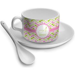 Pink & Green Geometric Tea Cups (Personalized)