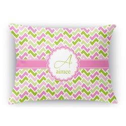 Pink & Green Geometric Rectangular Throw Pillow Case (Personalized)