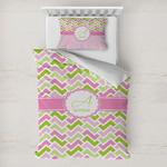 Pink & Green Geometric Toddler Bedding w/ Name and Initial