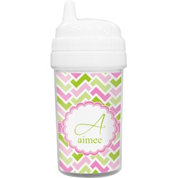 Pink & Green Geometric Toddler Sippy Cup (Personalized)