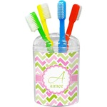 Pink & Green Geometric Toothbrush Holder (Personalized)