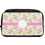Pink & Green Geometric Toiletry Bag / Dopp Kit (Personalized)