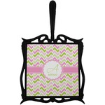 Pink & Green Geometric Trivet with Handle (Personalized)