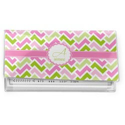 Pink & Green Geometric Vinyl Check Book Cover (Personalized)