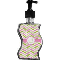 Pink & Green Geometric Wave Bottle Soap / Lotion Dispenser (Personalized)