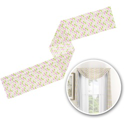 Pink & Green Geometric Window Sheer Scarf Valance (Personalized)