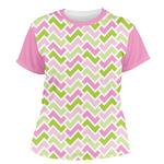 Pink & Green Geometric Women's Crew T-Shirt (Personalized)