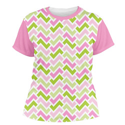Pink & Green Geometric Women's Crew T-Shirt (Personalized)