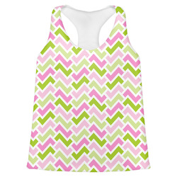 Pink & Green Geometric Womens Racerback Tank Top (Personalized)