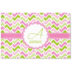 Pink & Green Geometric Woven Mat (Personalized)