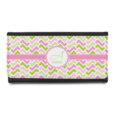 Pink & Green Geometric Leatherette Ladies Wallet (Personalized)