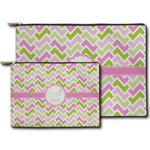 Pink & Green Geometric Zipper Pouch (Personalized)