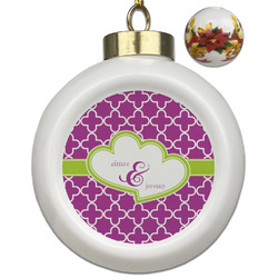 Clover Ceramic Ball Ornaments - Poinsettia Garland (Personalized)