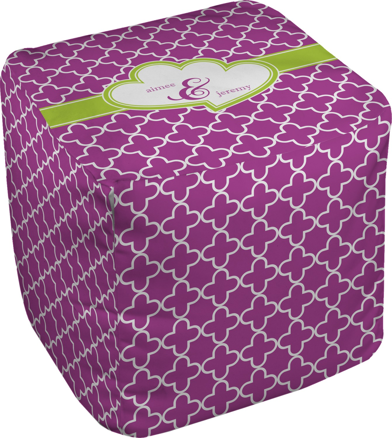 clover cube pouf ottoman personalized rnk shops. Black Bedroom Furniture Sets. Home Design Ideas